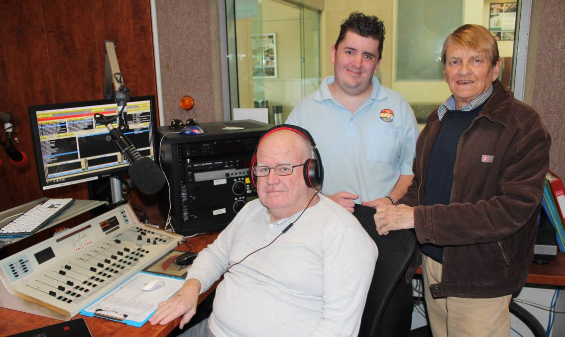 Macarthur Community 2MCR-FM presenters Denis Millward (left), Greg Bryant and Trevar Langlands are excited about the station's 30th anniversary celebrations. Picture: Joshua Bartlett